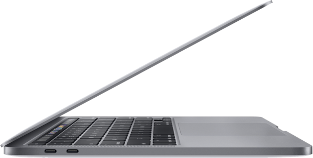 MacBook Pro 13 inch - Space Gray - 2020 (side)